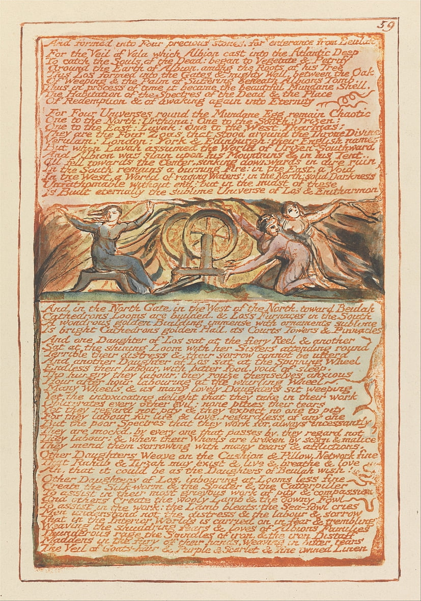 Gerusalemme, tavola 59, E formata in quattro pietre preziose .... da William Blake