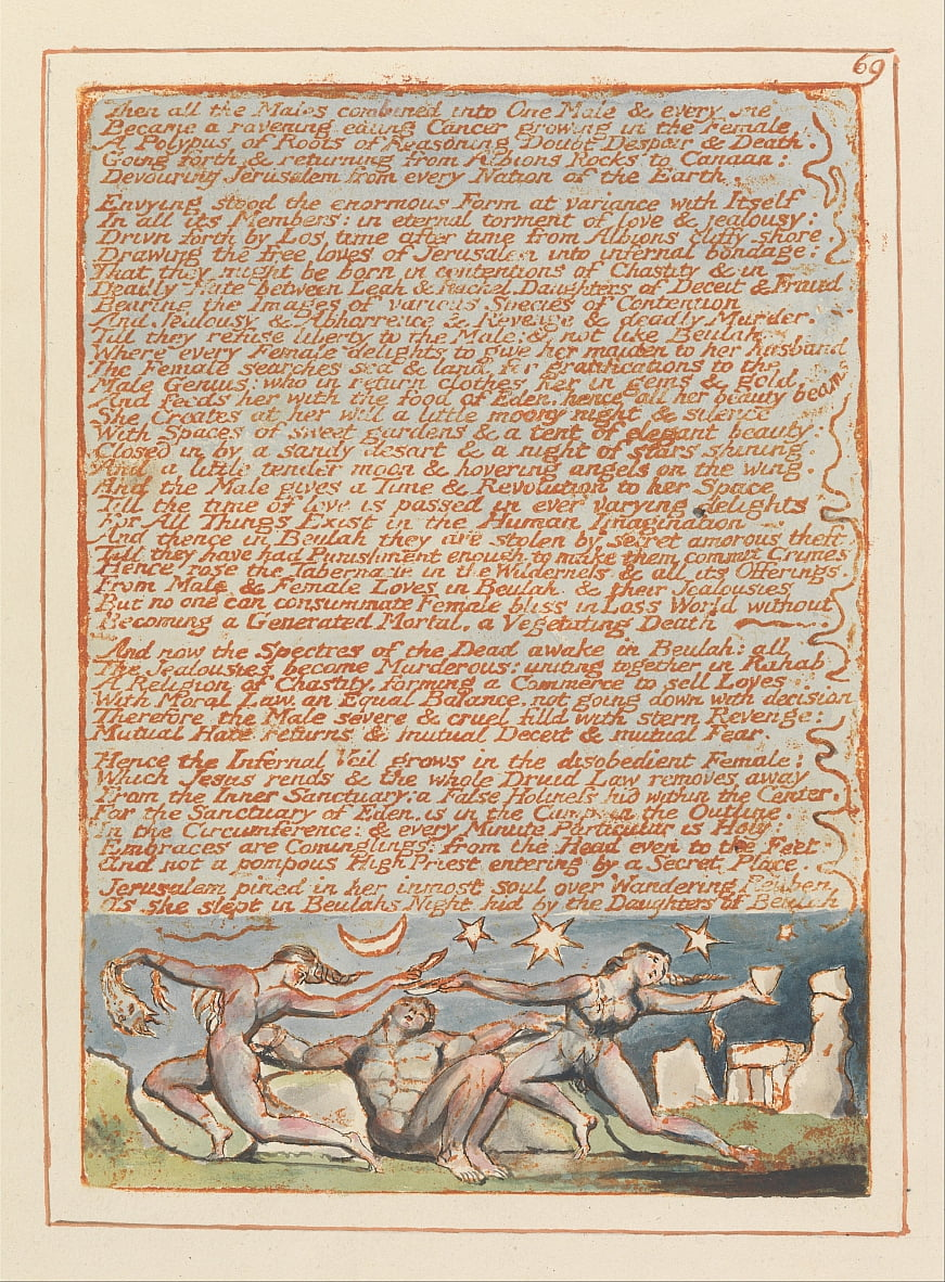 Gerusalemme, Piatto 69, Allora tutti i Maschi .... da William Blake