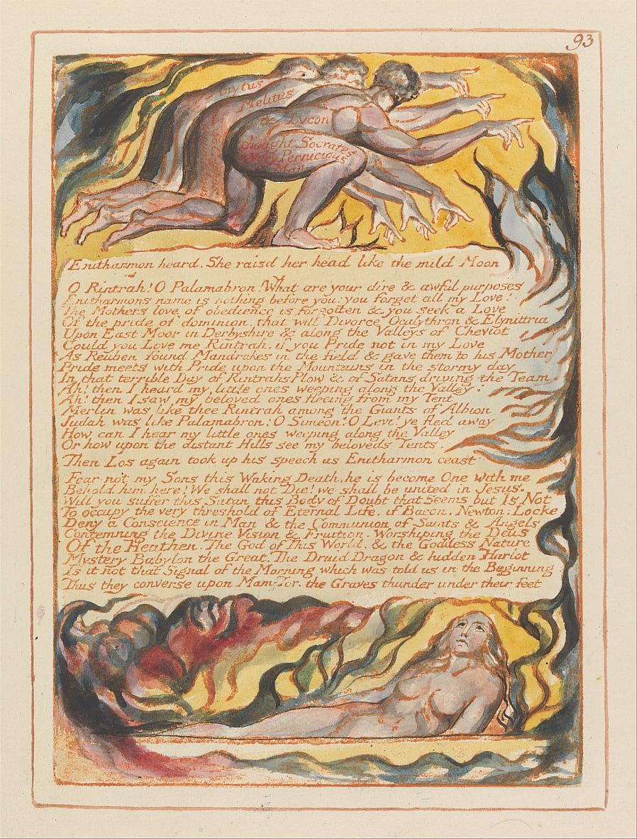 Gerusalemme, tavola 93, Enitharmon ascoltato .... da William Blake
