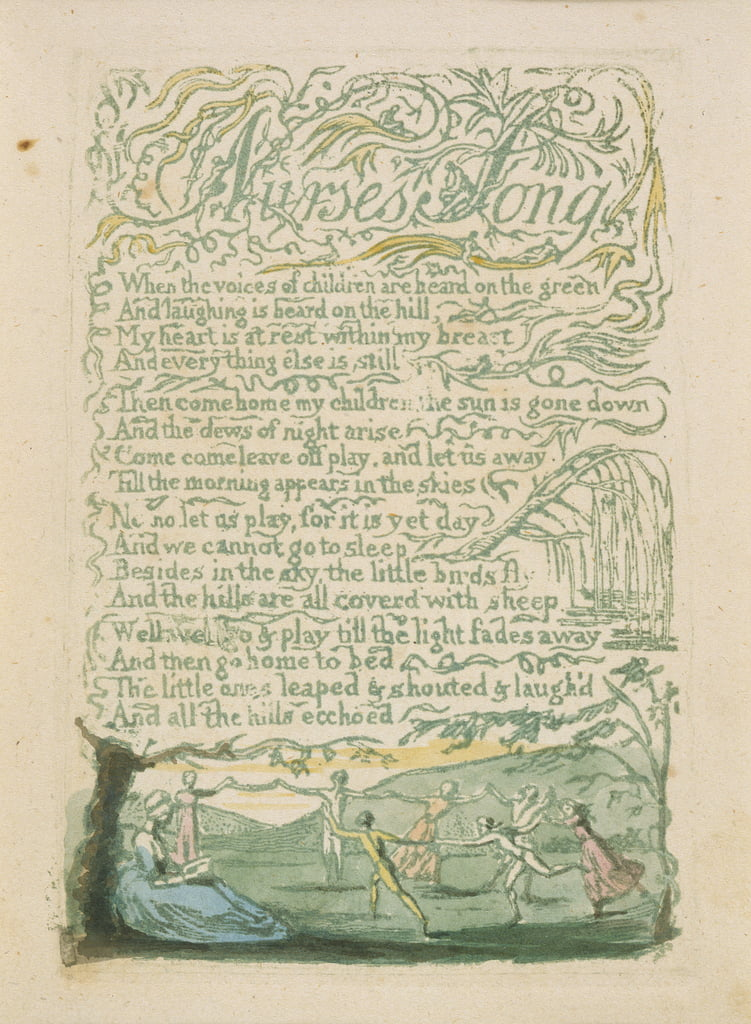 'Nurse's Song,' plate 18 di 'Songs of Innocence,' 1789 (incisione a rilievo a mano con acquerello) da William Blake