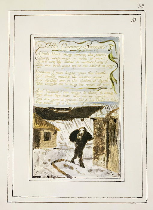 "P.124-1950.pt38 The Chimney Sweeper: lastra 38 di ""Songs of Innocence and of Experience"" (copia R) c.1802-08 (acquaforte, inchiostro e wc) da William Blake"