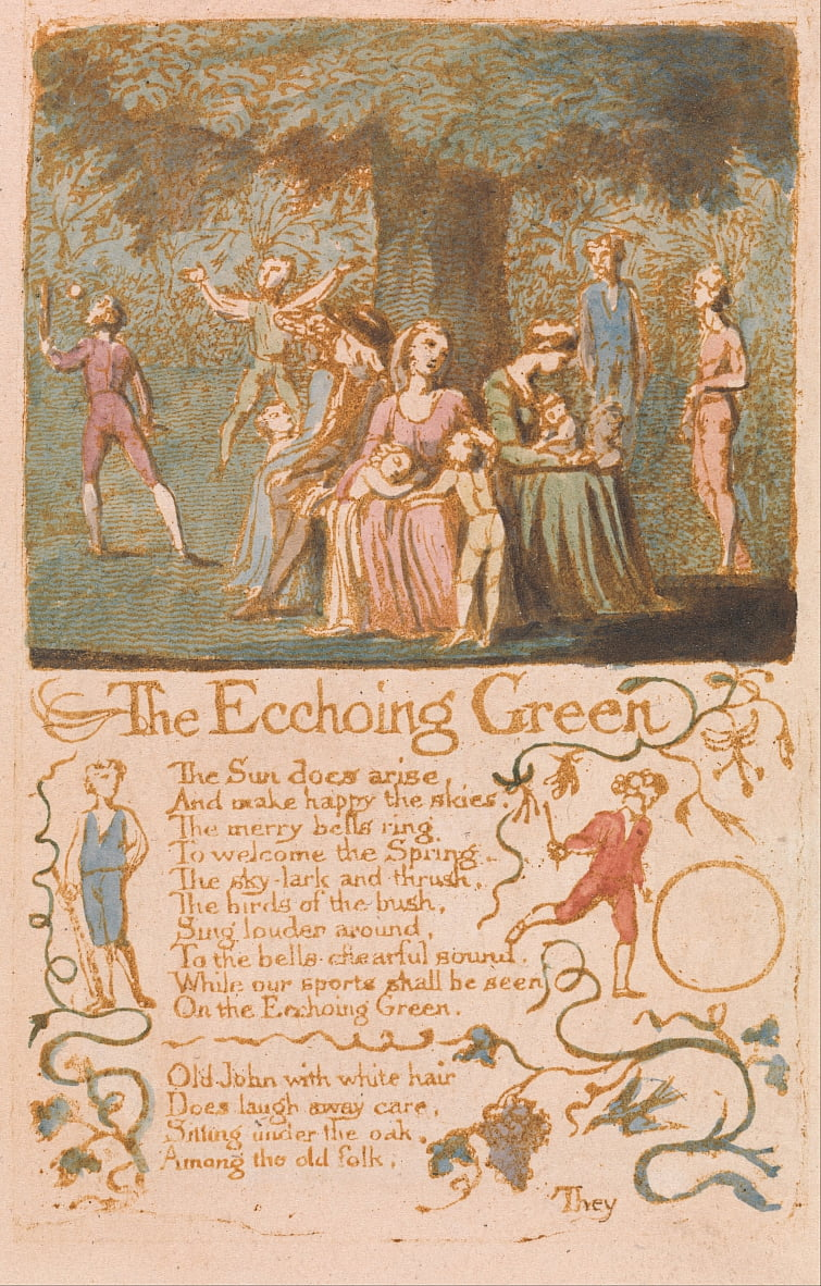 Songs of Innocence, Plate 10, The Ecchoing Green (Bentley 6) da William Blake