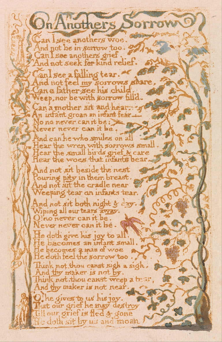 Songs of Innocence, Plate 24, On Anothers Sorrow (Bentley 27) da William Blake