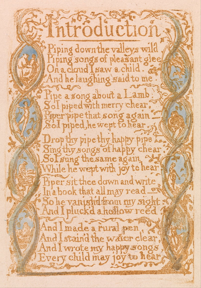 Songs of Innocence, Plate 3, Introduction (Bentley 4) da William Blake