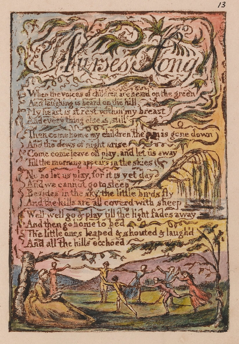 Songs of Innocence and of Experience, tavola 13, Nurses Song (Bentley 24) da William Blake