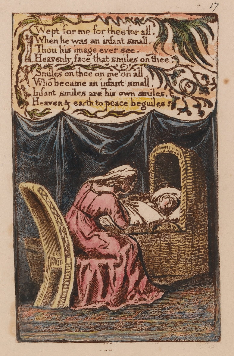 Songs of Innocence and of Experience, tavola 17, A Cradle Song (Bentley 17) da William Blake