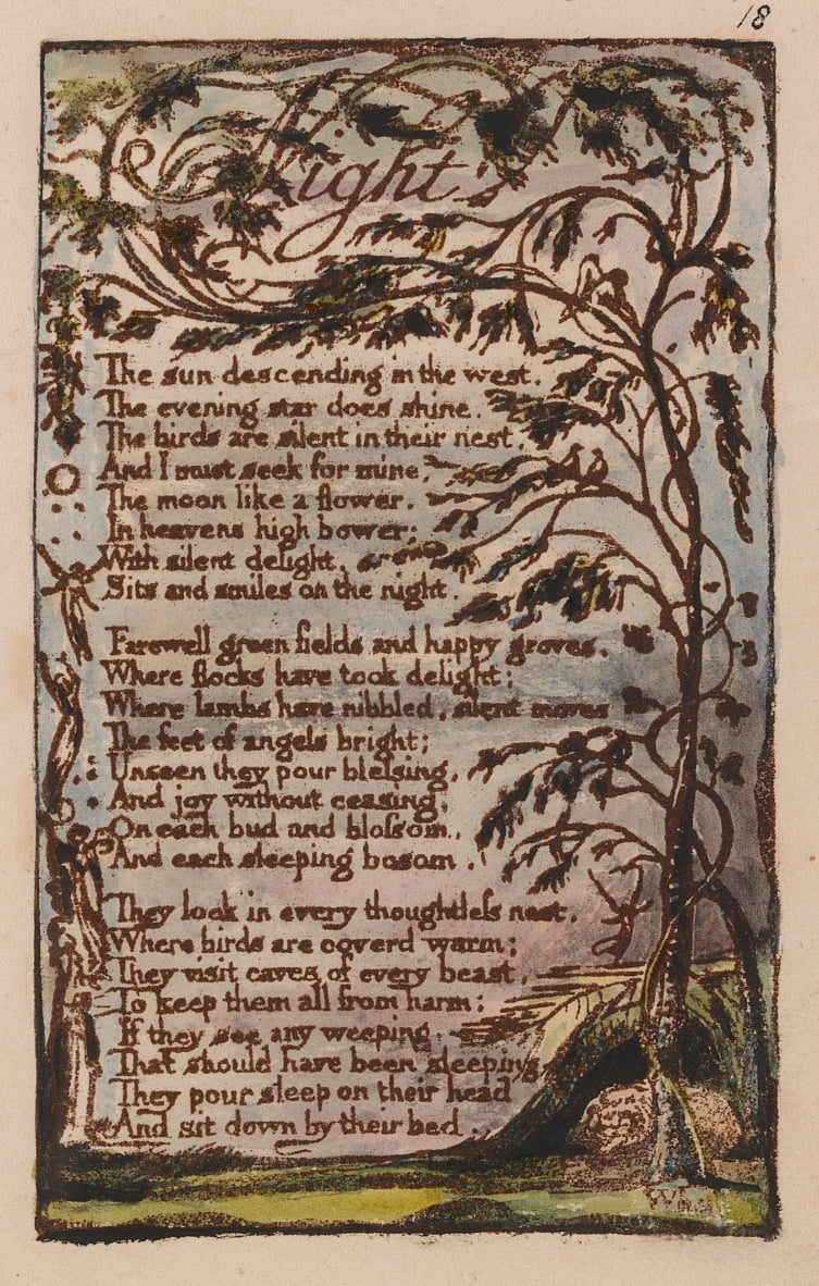 Songs of Innocence and of Experience, Tavola 18, Notte (Bentley 20) da William Blake