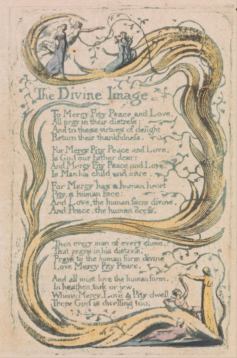 Songs of Innocence and of Experience, tavola 24, The Divine Image (Bentley 18) da William Blake