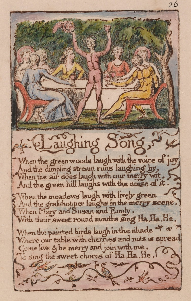 Songs of Innocence and of Experience, Plate 26, Laughing Song (Bentley 15) da William Blake
