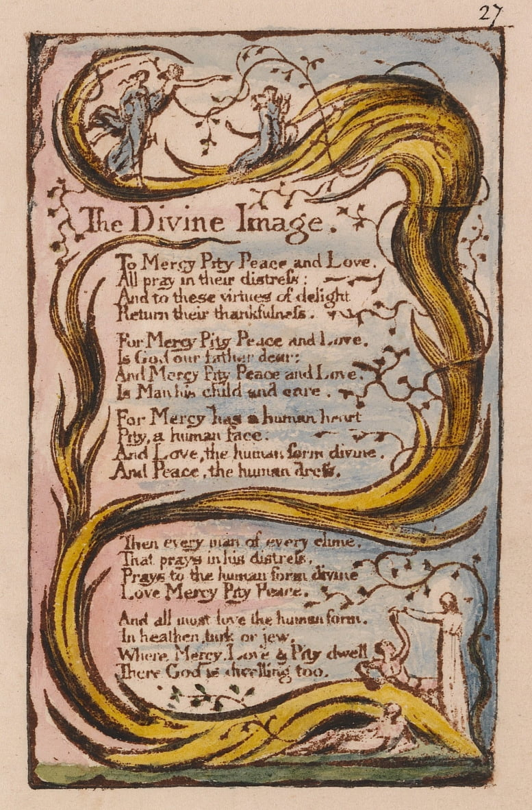 Songs of Innocence and of Experience, tavola 27, The Divine Image (Bentley 18) da William Blake