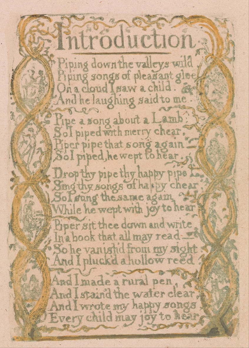 Songs of Innocence and of Experience, Tavola 3, Introduzione (Bentley 4) da William Blake
