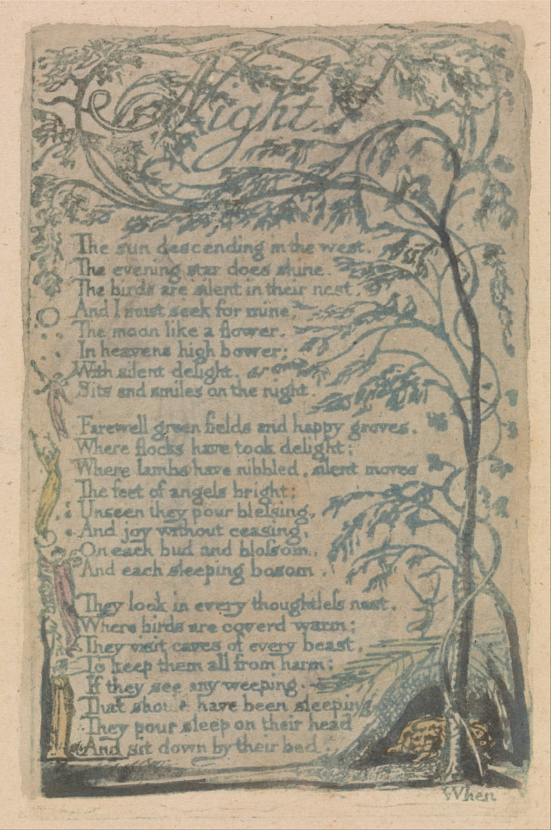 Songs of Innocence and of Experience, Tavola 30, Notte (Bentley 20) da William Blake