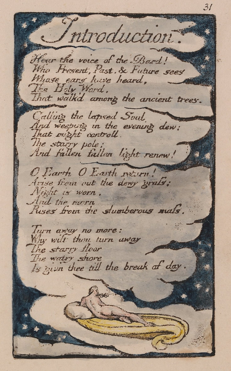 Songs of Innocence and of Experience, tavola 31, Introduzione (Bentley 30) da William Blake
