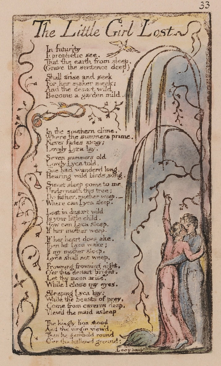 Songs of Innocence and of Experience, tavola 33, La piccola ragazza perduta (Bentley 34) da William Blake