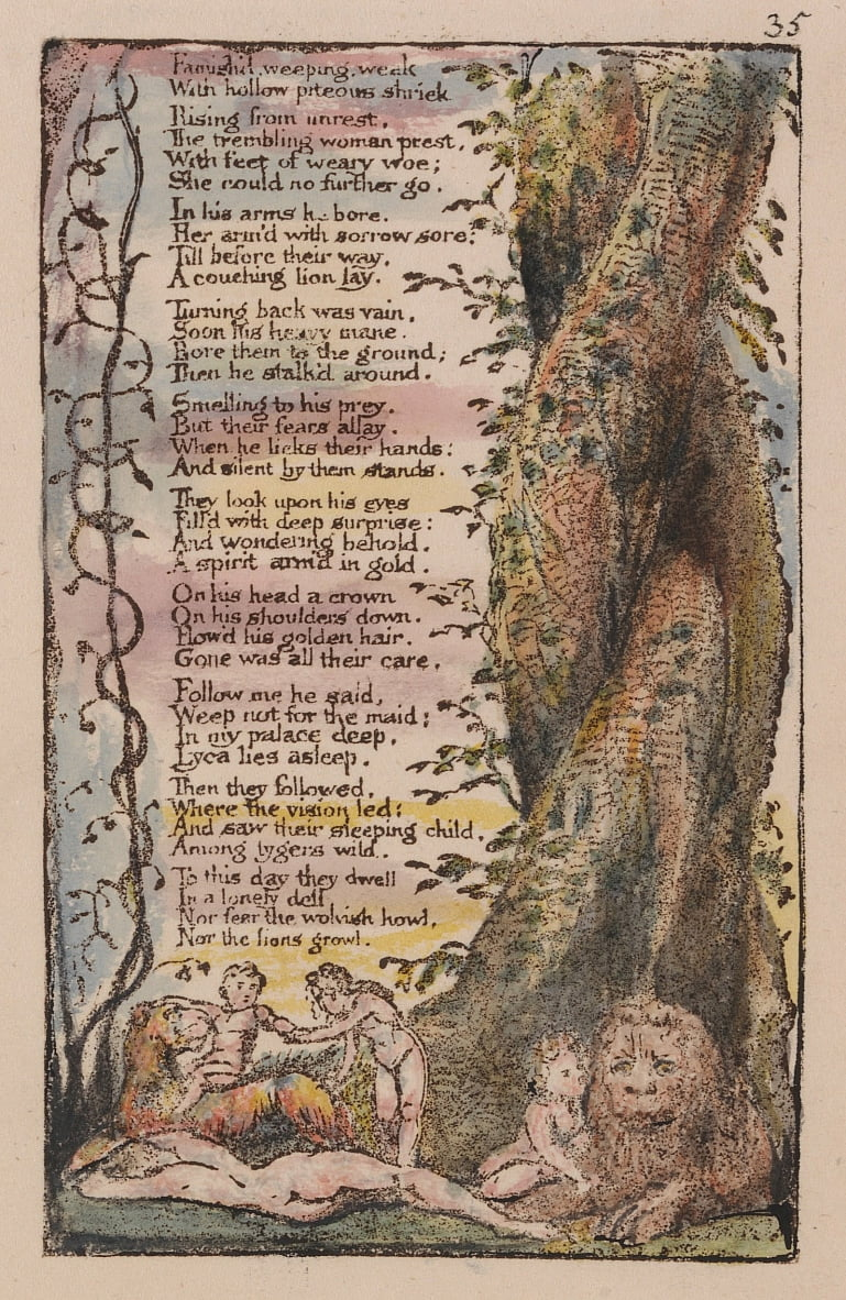 Songs of Innocence and of Experience, Tavola 35, La piccola ragazza trovata (Bentley 36) da William Blake