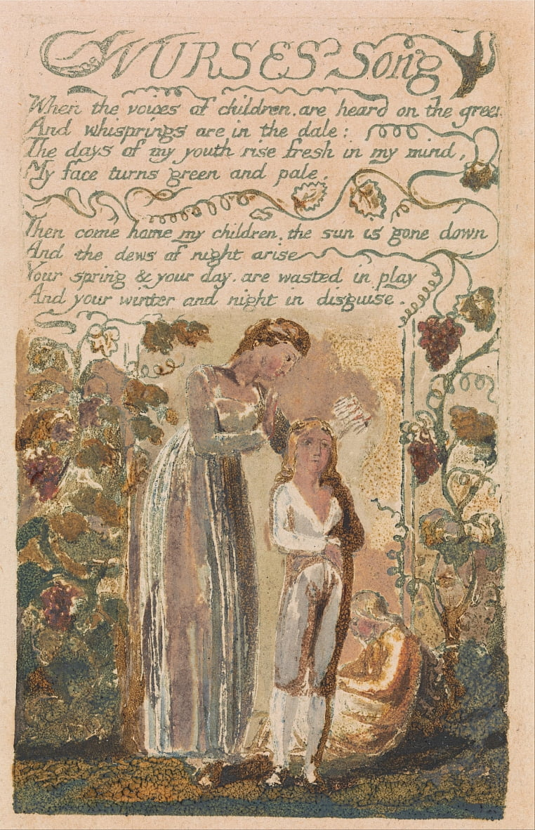 Songs of Innocence and of Experience, Plate 37, Nurses Song (Bentley 38) da William Blake