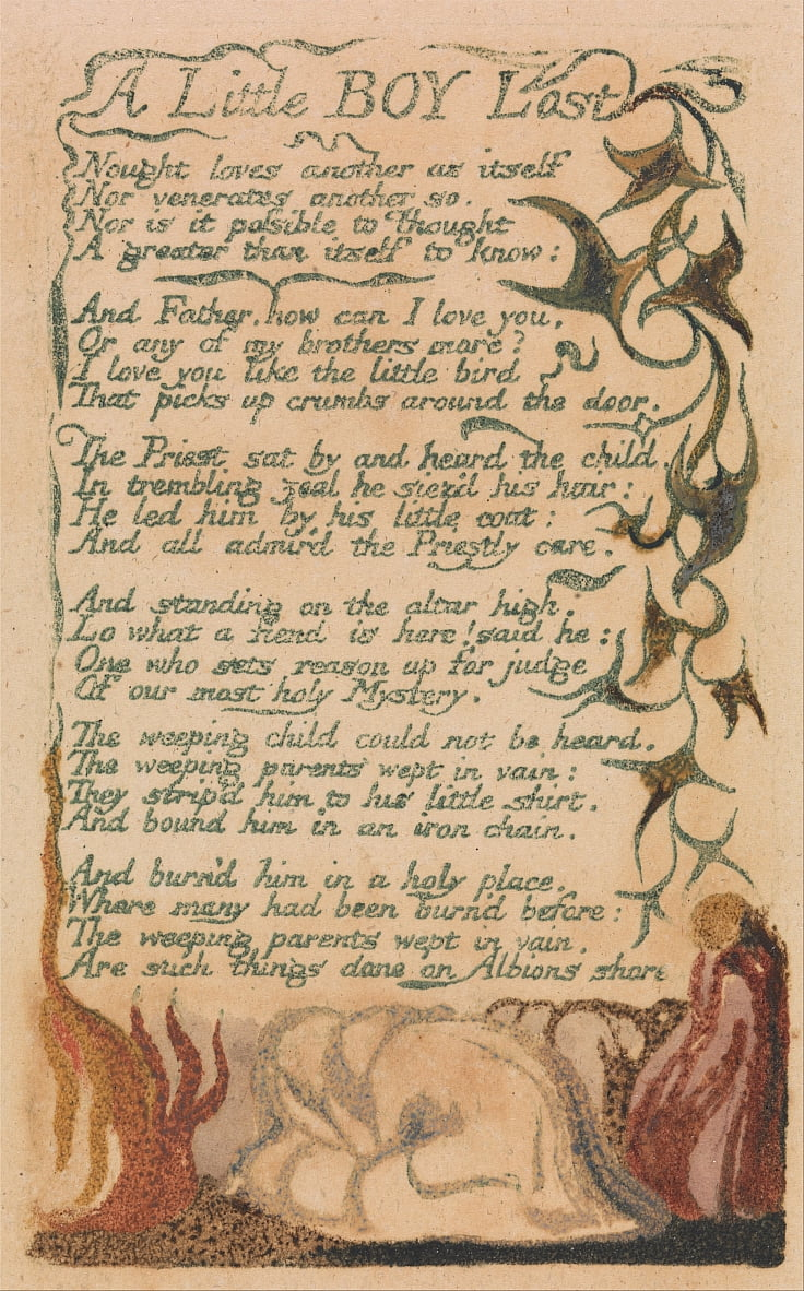 Songs of Innocence and of Experience, Plate 43, A Little Boy Lost (Bentley 50) da William Blake