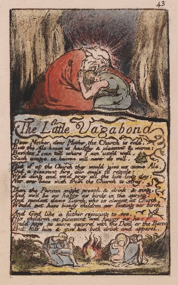Songs of Innocence and of Experience, Plate 43, The Little Vagabond, (Bentley 45) da William Blake