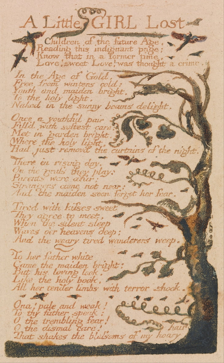 Songs of Innocence and of Experience, tavola 44, A Little Girl Lost (Bentley 51) da William Blake