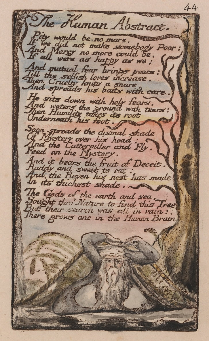 Songs of Innocence and of Experience, tavola 44, The Human Abstract (Bentley 47) da William Blake