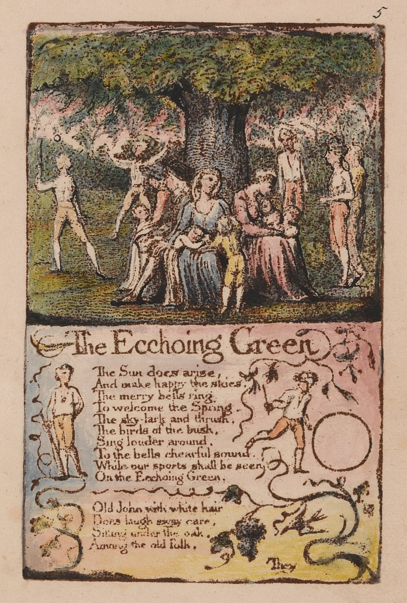 Songs of Innocence and of Experience, tavola 5, Ecchoing Green (Bentley 6) da William Blake