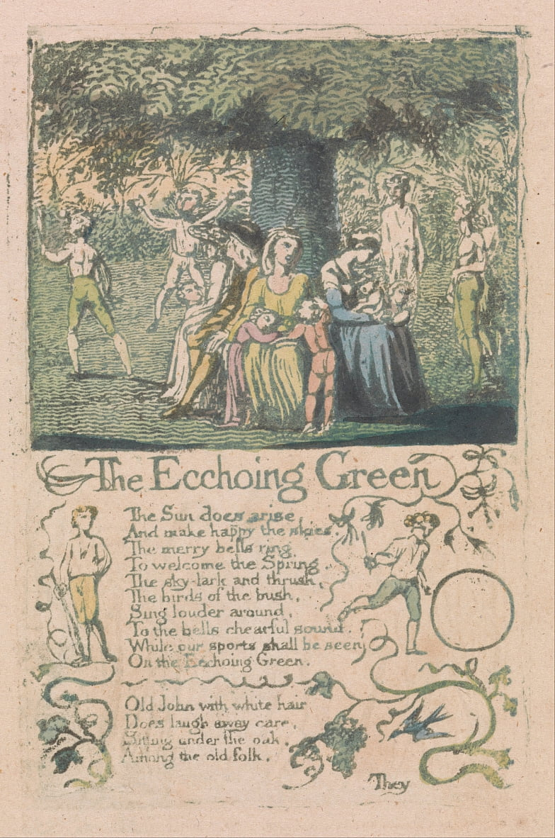 Songs of Innocence and of Experience, tavola 8, Ecchoing Green (Bentley 6) da William Blake