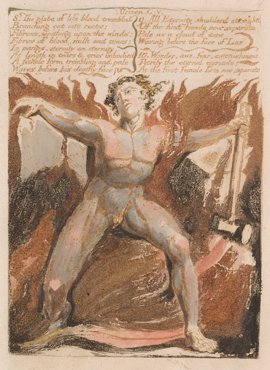 Il primo libro di Urizen, tavola 17, 8. Il globo del sangue vitale tremò .... (Bentley 18) da William Blake