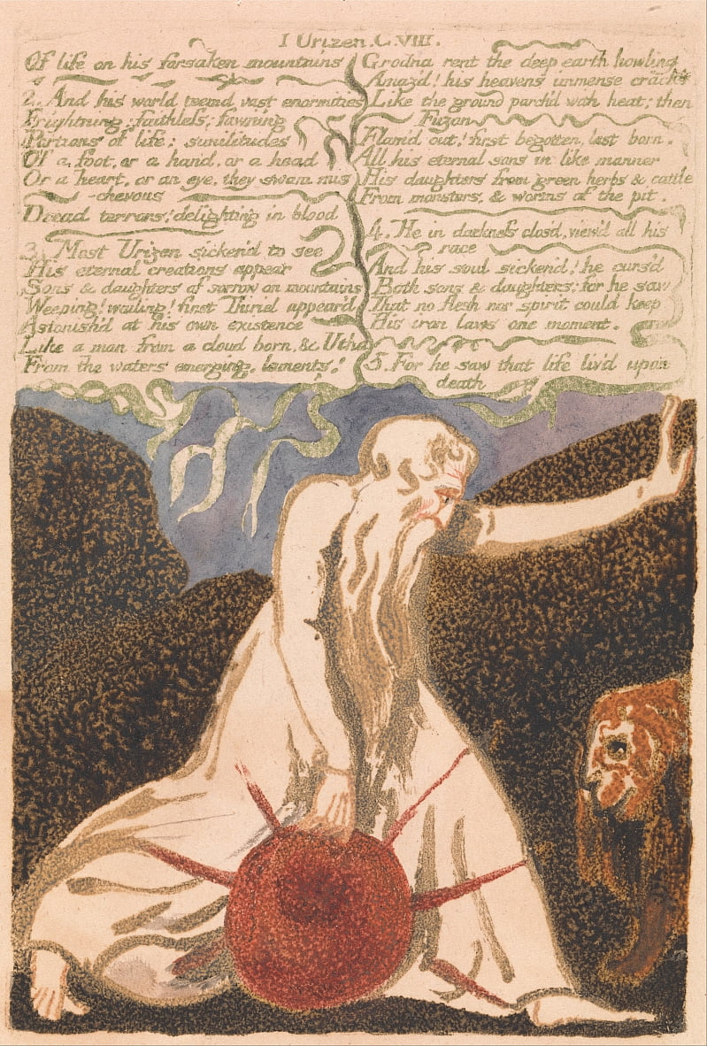 Il primo libro di Urizen, tavola 20, di montagne abbandonate dalla vita. . . . (Bentley 23) da William Blake