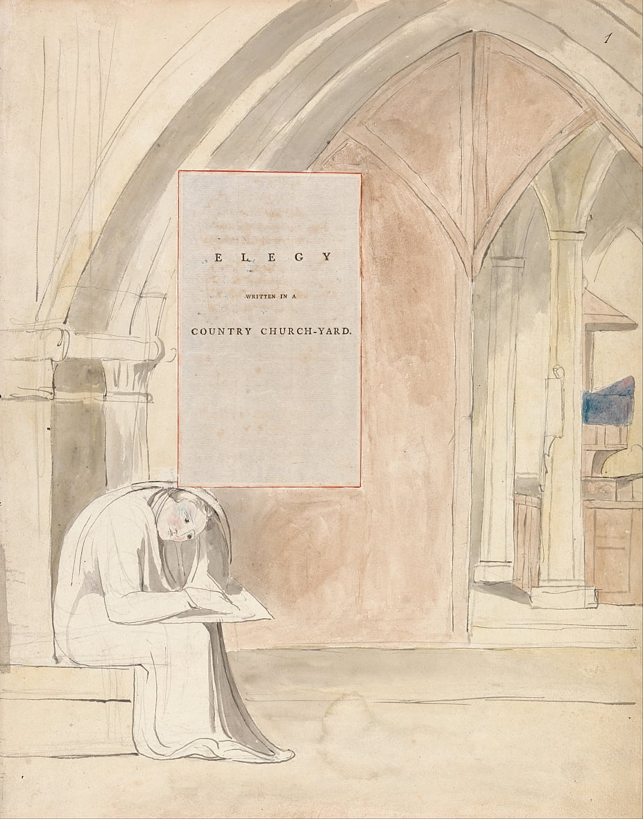 The Poems of Thomas Gray, Design 105, Elegy Scritto in un cortile di campagna. da William Blake