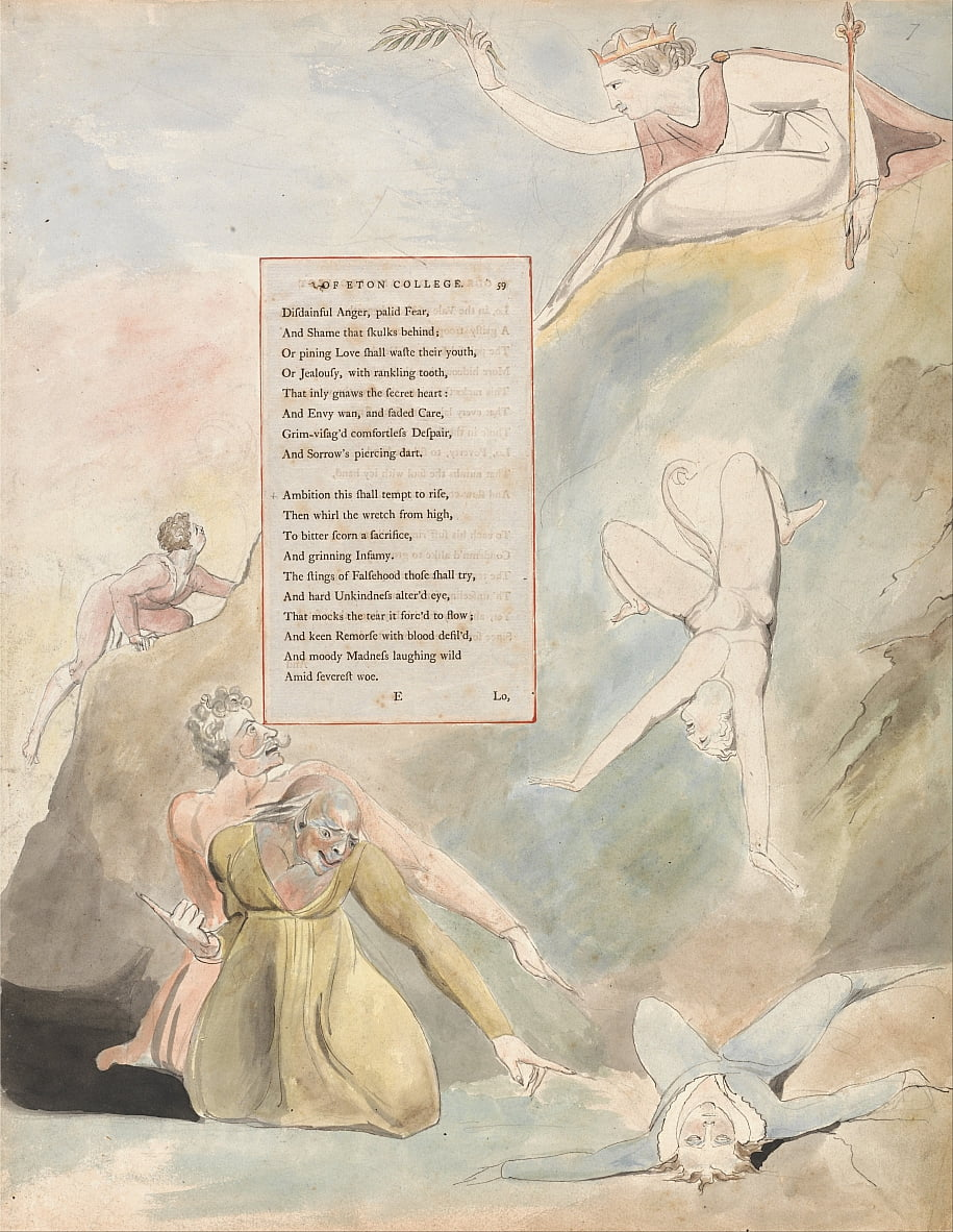 The Poems of Thomas Gray, Design 19, Ode on a Distant Prospect of Eton College. da William Blake