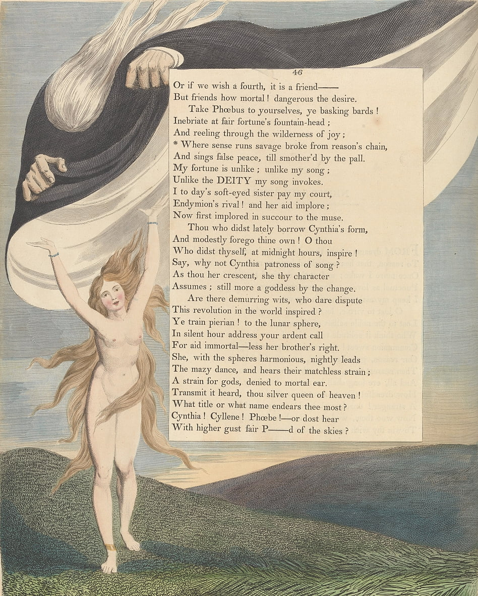 Youngs Night Thoughts, Pagina 46, dove il senso corre selvaggio rotto dalla catena di ragioni da William Blake