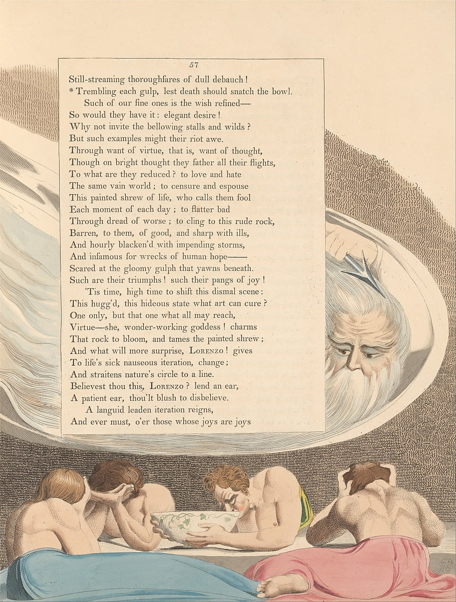 Youngs Night Thoughts, Pagina 57, Tremando ogni sorso, per timore che la morte debba strappare la ciotola da William Blake