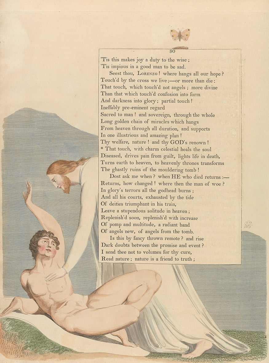 Youngs Night Thoughts, Pagina 90, Quel tocco, con fascino celestiale, guarisce lanima da William Blake