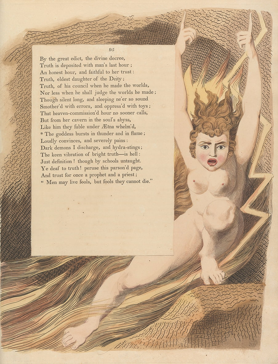 Youngs Night Thoughts, Pagina 95, La dea irrompe in un tuono e in una fiamma da William Blake