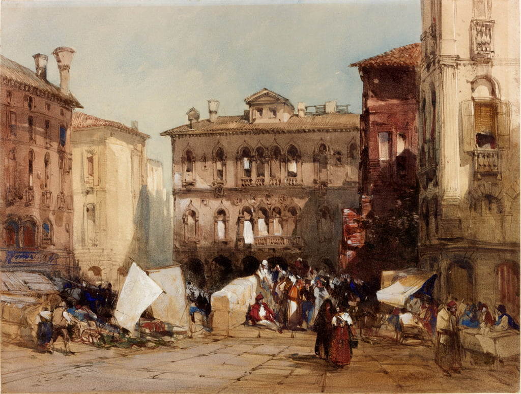 Palazzo Falier, Venezia, 1847 (bc e wc su carta) da William Callow