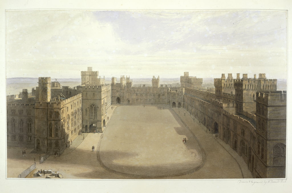Guardando al Quadrilatero di Windsor, da una raccolta di vedute di Windsor, Eton e Virginia Water, 1825-30 da William Daniell