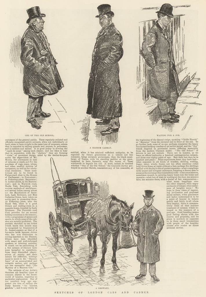 Schizzi di London Cabs and Cabmen da William Douglas Almond