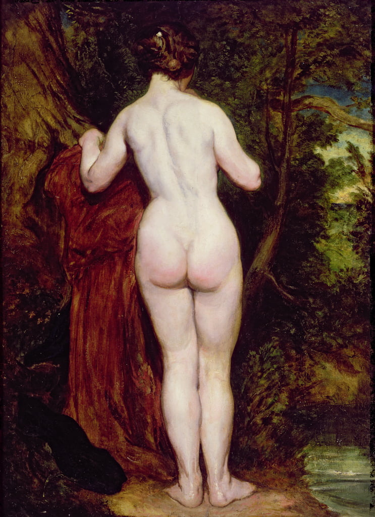 Standing Female Nude by a Stream, 1825 (olio su tavola) da William Etty