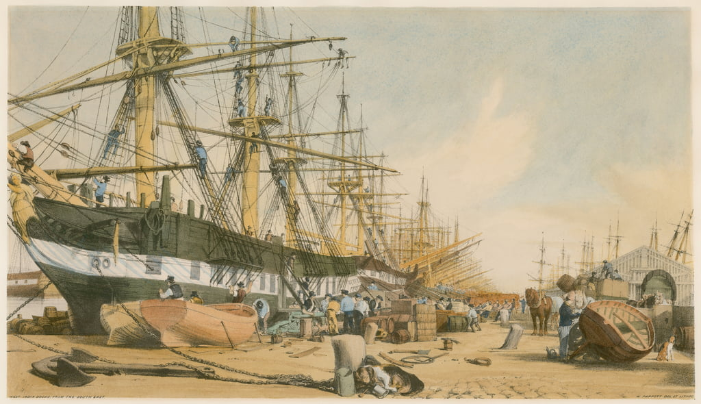 West India Docks, dal sud-est da William Parrott