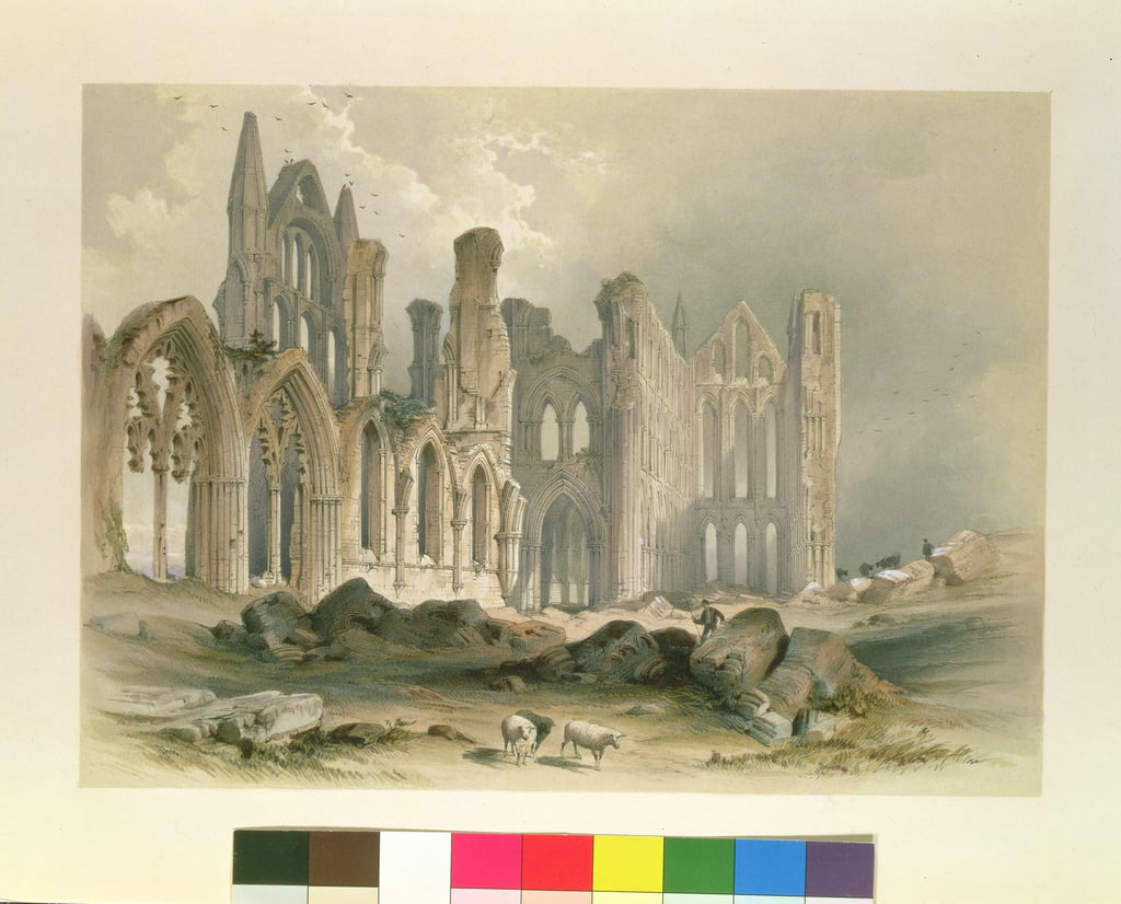"Abbazia di Whitby dal nord-est, da ""Le rovine monastiche dello Yorkshire"", incisa da George Hawkins (1819-52), 1843 da William Richardson"