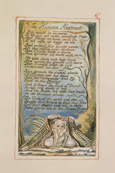 P.125-1950.pt47 L&39;abstract umano: tavola 47 di Songs of Innocence and of Experience (copia AA) c.1815-26 (incisione, inchiostro e wc) da William Blake