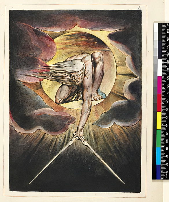 P.127-1950.pt.19 The Ancient of Days, frontespizio di &39;Europe, A Prophecy&39;, 1821 circa (incisione con rilievo a penna e wc su carta) da William Blake