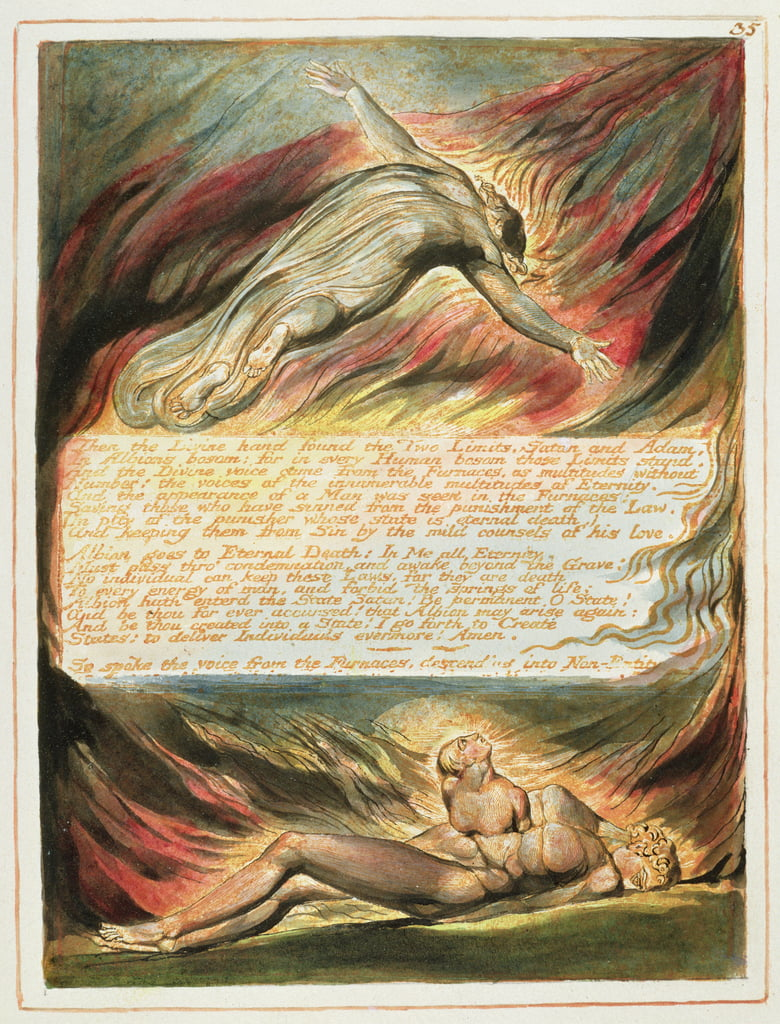 &39;Then the Divine Hand ...&39;, targhetta 35 di &39;Jerusalem&39; (Bentley Copy E) 1804-20 (incisione con penna e wc su carta) da William Blake