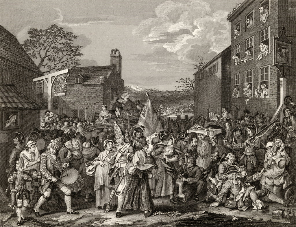 "La March to Finchley, incisa da TE Nicholson, da ""The Works of Hogarth"", pubblicata nel 1833 da William Hogarth"